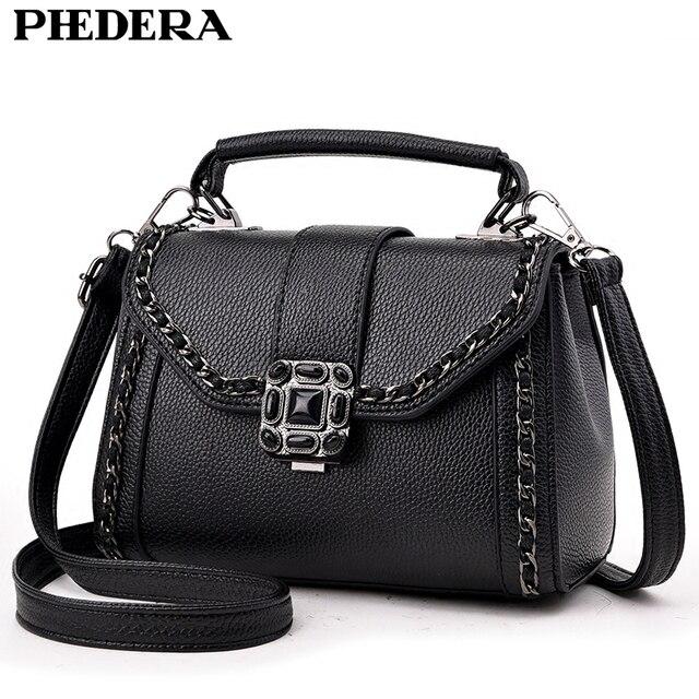 54b54740bc27 US $17.33 47% OFF|PHEDERA Brand Summer Chains Women Messenger Bags Fashion  PU Leather Small Female Ladies Tote Handbags Black Women Crossbody Bag-in  ...