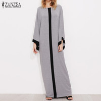 2017 ZANZEA Womens Round Neck Flare Sleeve Striped Splice Patchwork Kaftan Casual Loose Party Maxi Long