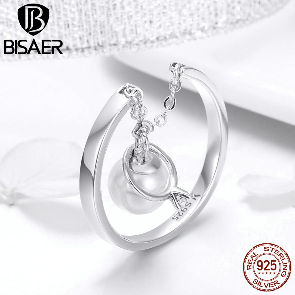 BISAER 100% 925 Sterling Silver Shell Pearl Wedding Finger Rings For Women Clear CZ Wedding Ring Silver Jewelry Anel ECR459