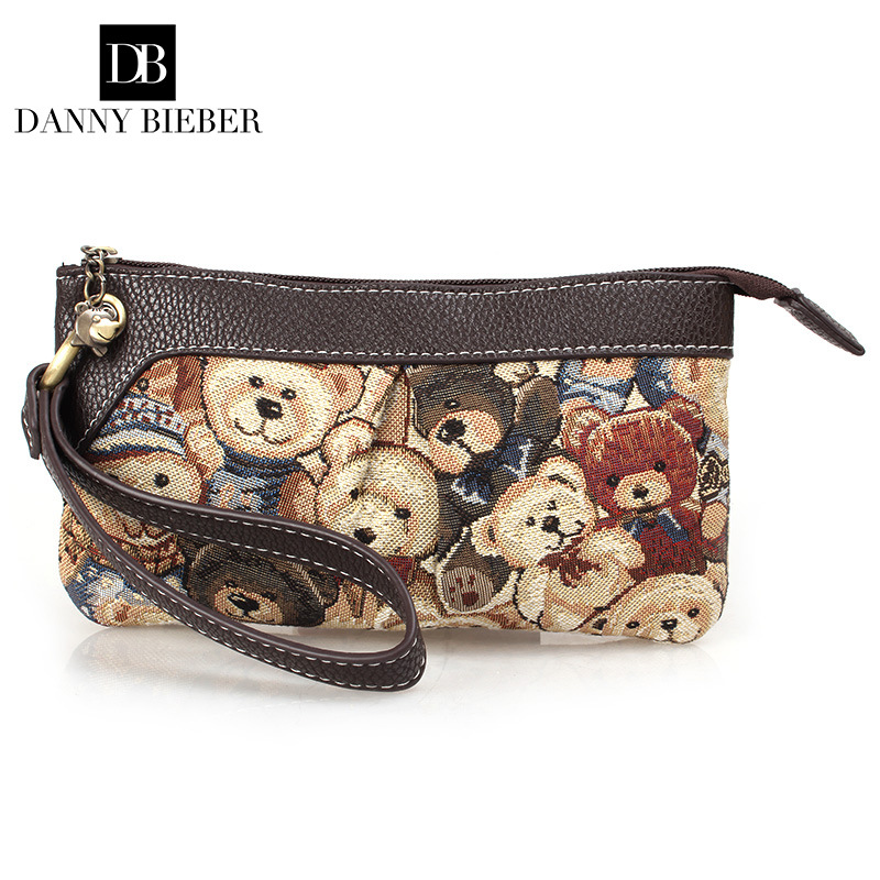DANNY BIEBER Vintage Small Women Bear Bag Handbag Lady Famous Brand Zipper Cute Wallet Mobile Phone Bag Day Clutch Evening Bag