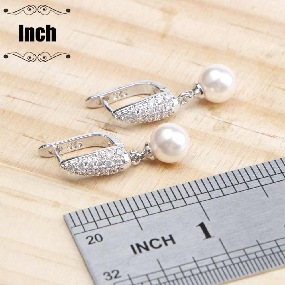 925 Sterling Silver Pearls Jewelry Sets Bridal Earrings For Women Costume Jewelry With Pearl Zircon Pendant Necklace Ring Set