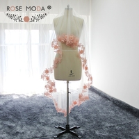 Rose Moda Custom Made 200cm Cathedral Veil with Blush Pink Lace Hem Soft Tulle Bridal Veil White Ivory 2M Handmade Flowers