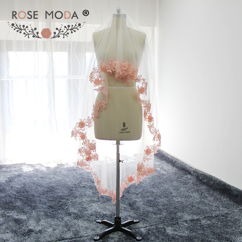 Rose Moda Custom Made 200cm Cathedral Veil With Blush Pink Lace Hem Soft Tulle Bridal Veil White Ivory 2M Handmade Flowers