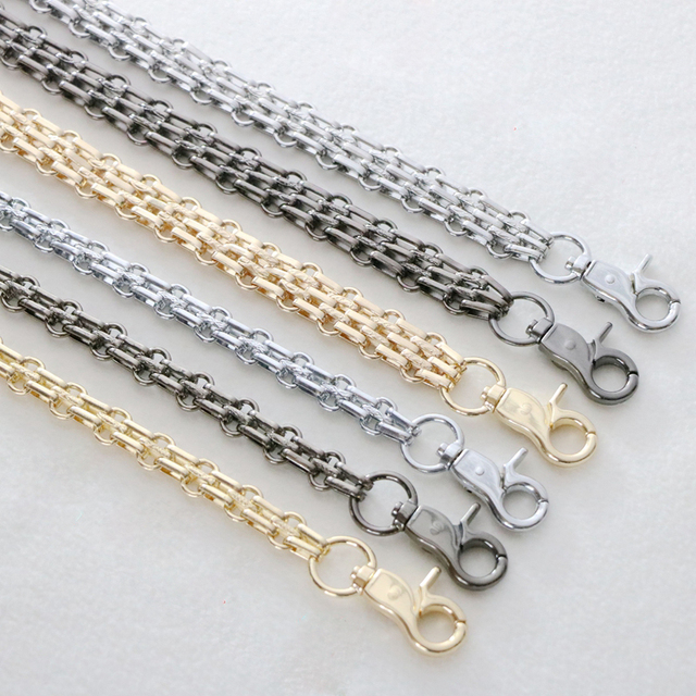 Long 120cm, 140cm Gold, Silver, Gun Black 17mm, 12mm Metal Chain Shoulder Bag Replacement Strap Handles for Handbag Accessories