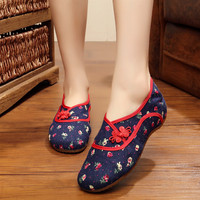 Women Embroidered Flower Shoes Chinese Wedding Shoes Leisure Plat Canvas Shoe Elastic Band Shallow Mouth Girls