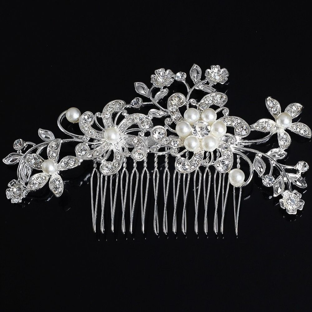 fancy wedding bridal hair comb jewelry flower pearl crystal tiaras hair accessories sparkly bride hair combs in stock in women s hair accessories from