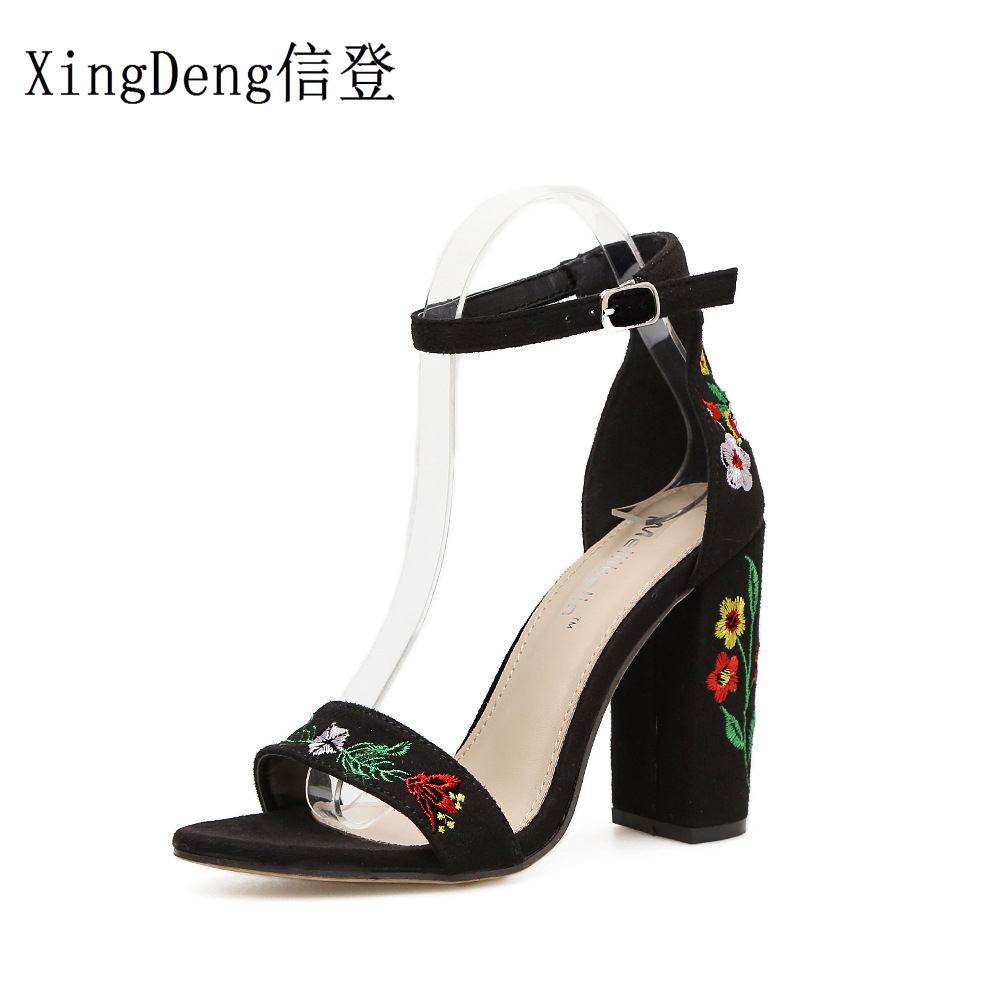 XingDeng Girls Sexy Printed Flowes Ankle Strap Party Wedding Dress Shoes Women Embroidery Thick Heels High Heels Sandals Shoes