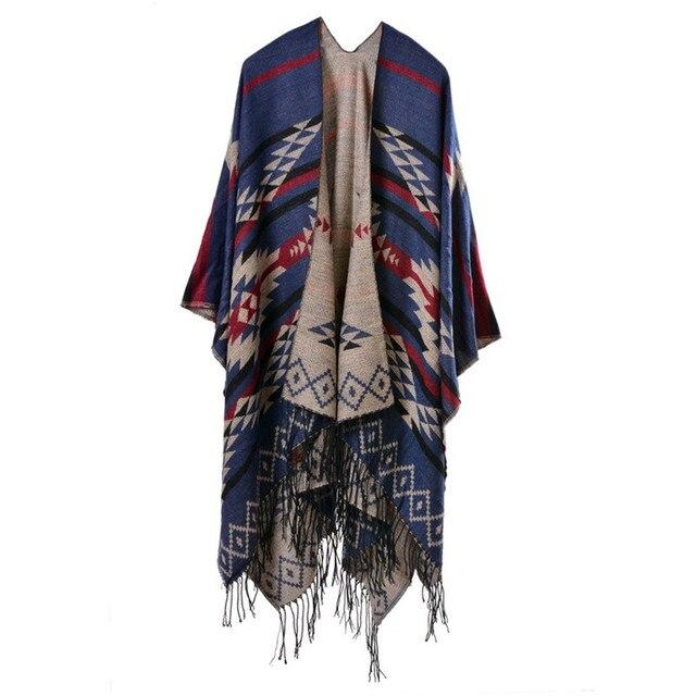 Bohemian Women's Autumn Winter Poncho Ethnic Scarf Fashion Print Blanket carves Lady Knit Shawl Tassel Cape Thicken Pashmina 050