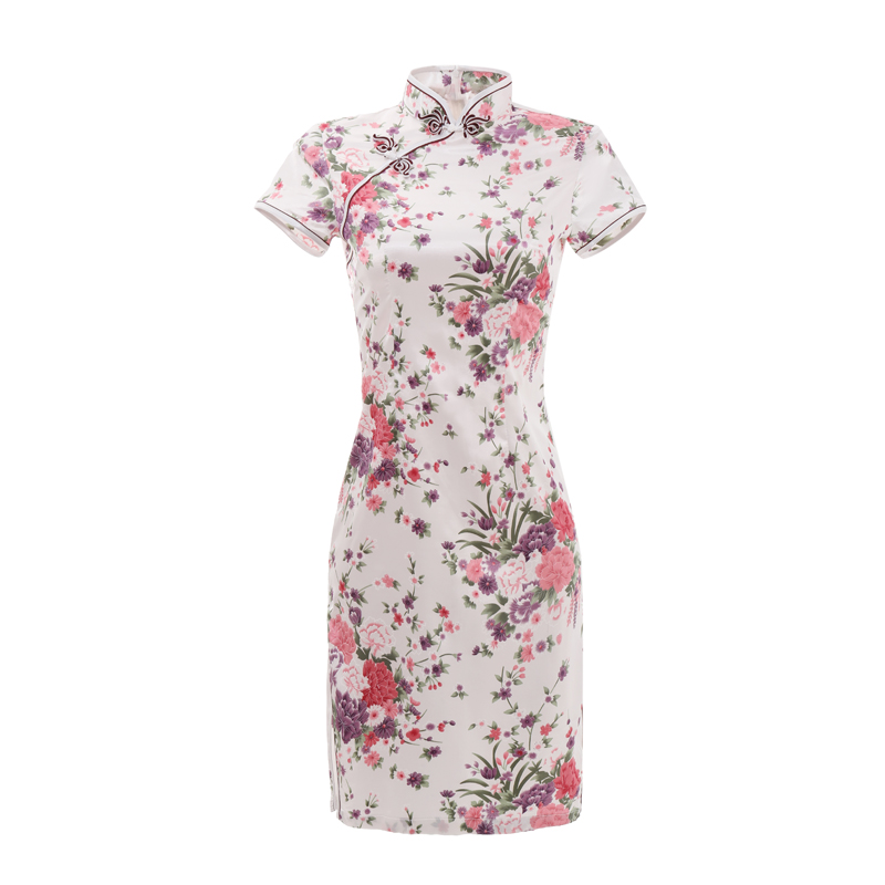 <font><b>Sexy</b></font> Slim Summer Ladies Short Cheongsam Large Size Chinese Style <font><b>Dress</b></font> Rayon Print Floral Stage Show Qipao 3XL 4XL 5XL <font><b>6XL</b></font> image