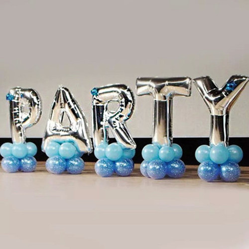 40 inches silver letter foil balloons birthday party for Balloon banner decoration