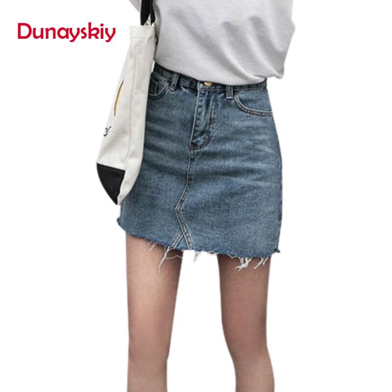 Duanyskiy Women Summer Black Blue Solid Casual High Waist Pencil Denim Skirts High Street Pockets Button