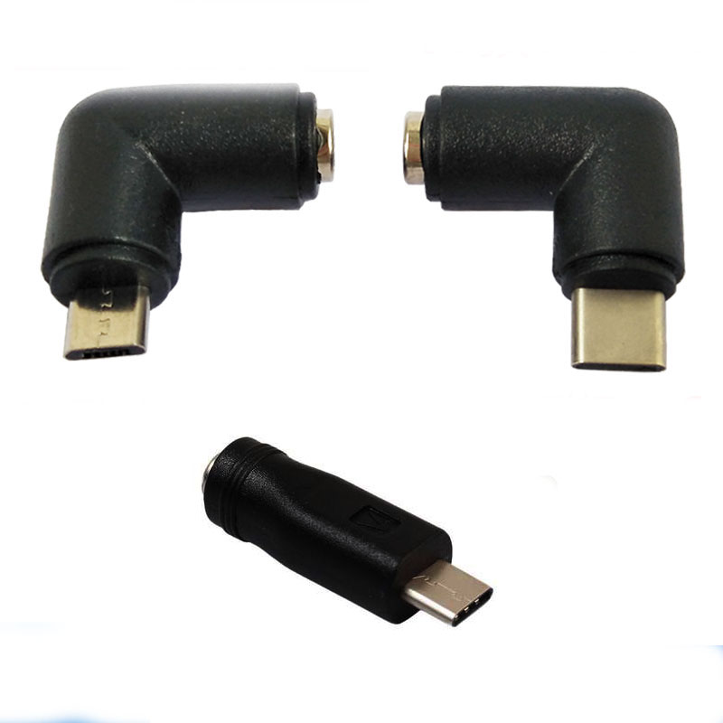 5.5*2.1mm 5.5 X 2.1 Mm Female Jack To Type-C USB 3.1 Male Plug Micro Usb Male  DC Power Connector Adapter DC To Type C Male