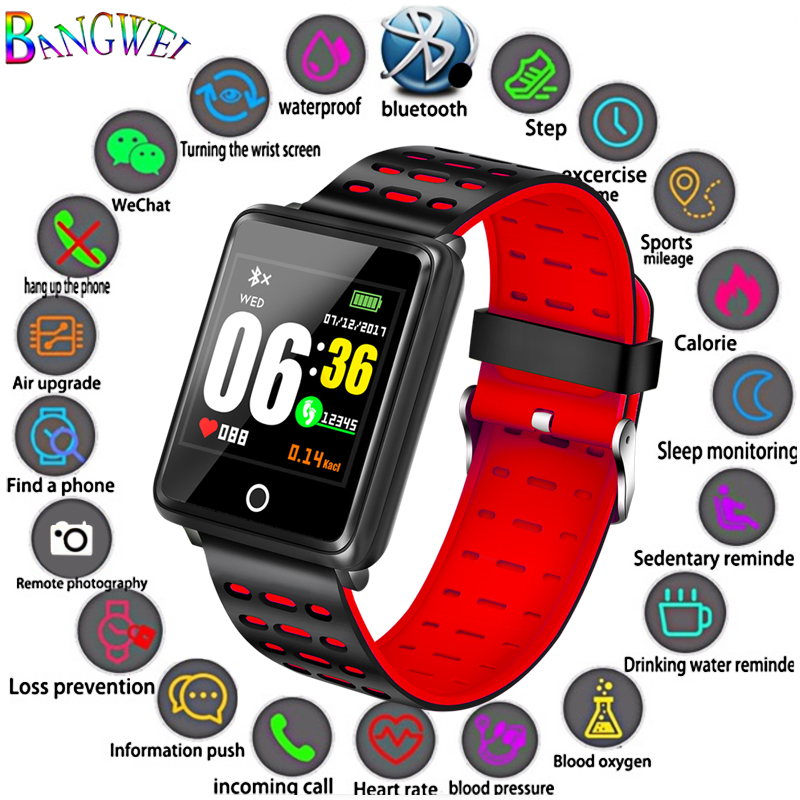 BANGWEI Smart Sport Bracelet Waterproof Fitness Watch Blood Pressure Heart Rate Monitor Information Reminder Smart Wristband+Box