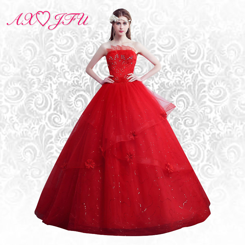 AXJFU Red flower beading wedding Dress red lace flower wedding Dress princess red wedding dress