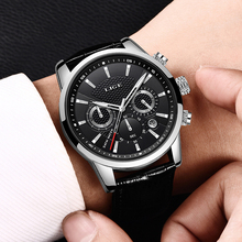 2019 Gift Top Brand Luxury LIGE NEW Fashion Leather Watch Men