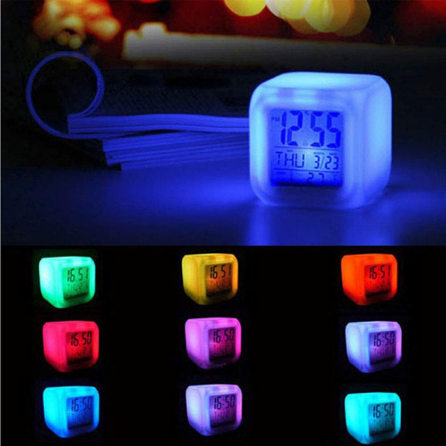 Multi-function Mini Desk 7 Colors Change LED Glowing Digital Alarm Clock Thermometer temperature date Desktop Clock Cube