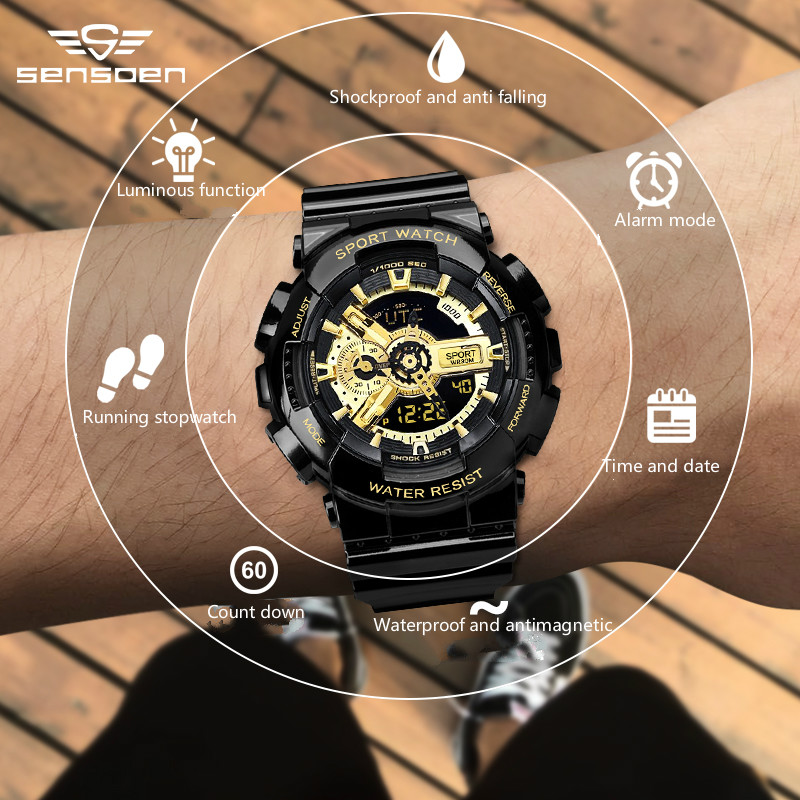 Outdoor Sports Electronic Watch, Korean Version Of The Simple Waterproof And Shock-proof Multi-functional Electronic Watch.