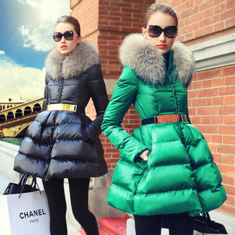 2017 Promotion Time-limited Long Sleeve Prase Women's Fashion Swandown Thin Fur Collar   Down     Coat   Medium-long Female Outerwear