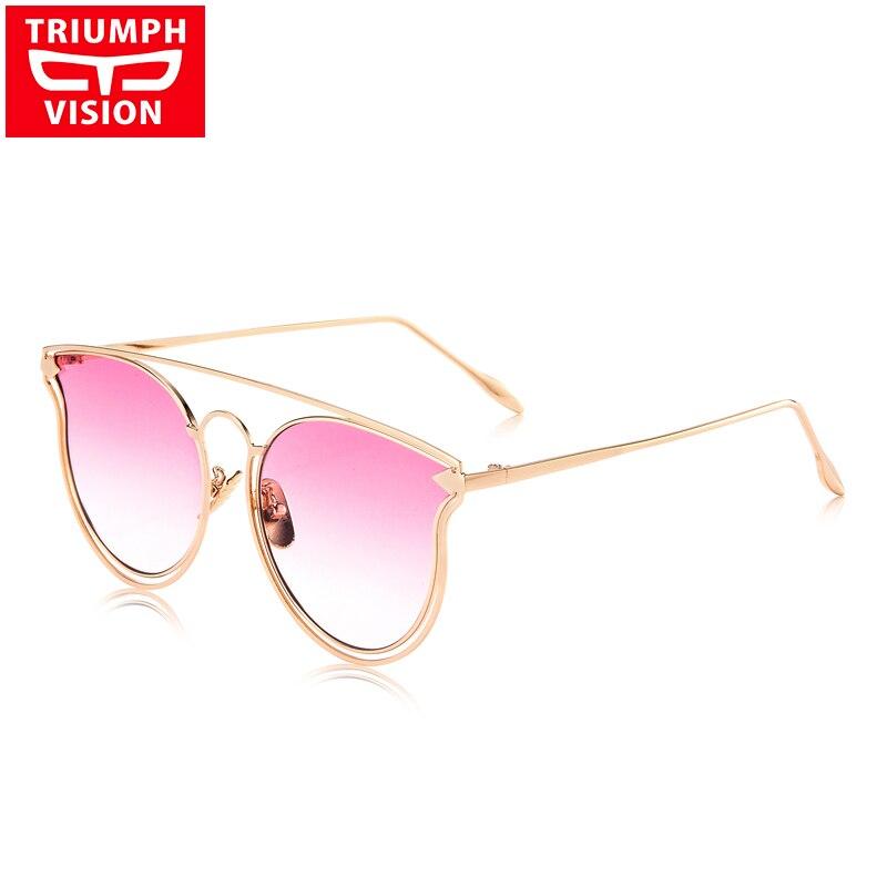 TRIUMPH VISION Flat Pilot Women Sunglasses Gradient Summer Color Lens Lunette UV400 Protection New Fashion Sun Glasses Female