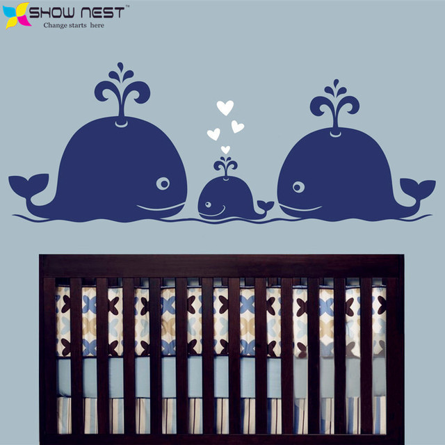 Cute Whale Hearts Family Wall Decals Baby Nursery Decor Kids Room Stickers Hipster Modern Retro