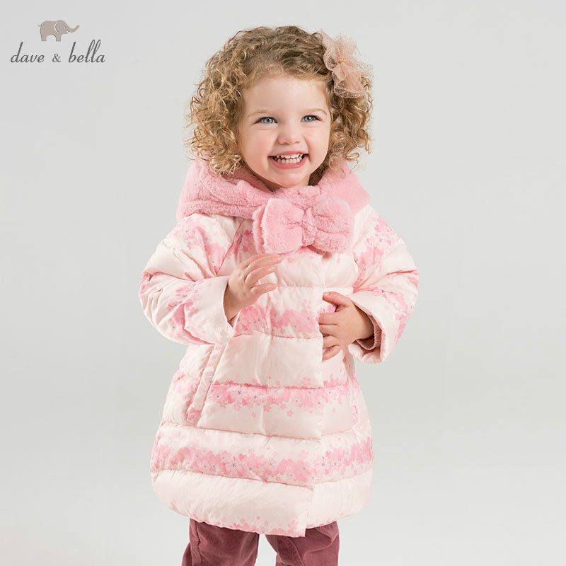 DBJ9305 dave bella girls down jacket baby winter floral lolita duck down coat children hooded outerwear