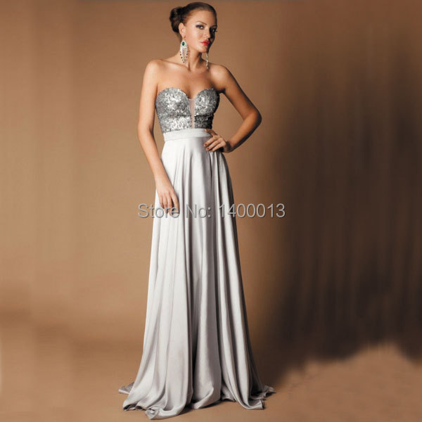 Plata de Las Lentejuelas Vestidos de Baile 2016 Sweetheart Sparkly Glitter Vestido de Satén Largo Vestidos de Noche 2016 Largo Vestido De Formatura