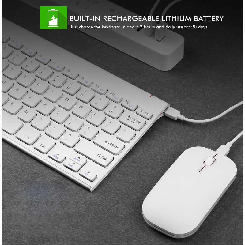 B.O.W 2.4 ghz 充電式コンパクト静音キーボード (78 キー) とマウスのコンボナノ Usb レシーバー windows 、ラップトップ、 Pc