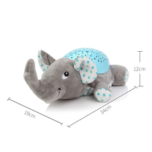 Baby Plush Stuffed Soft Doll Animal Toys with Music Stars Projector Led Sleep Light Elephant Frog Partnerfor Baby Kids Boy Girls