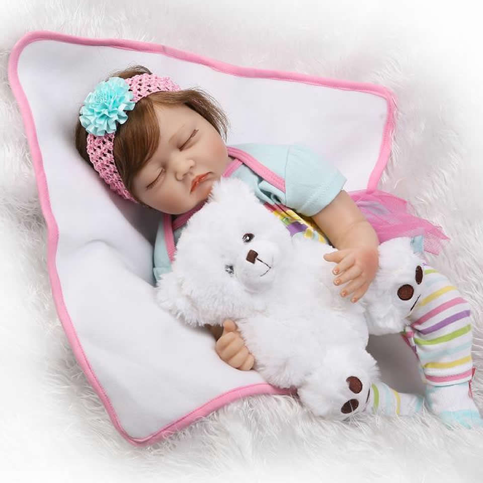 22 inch Lifelike Sleeping Reborn Baby Dolls Soft Silicone Babies Doll With Plush Bear 55 cm Fiber Hair New Reborns Kids Playmate beanie babies yo gabba gabba plex 35cm plush toys