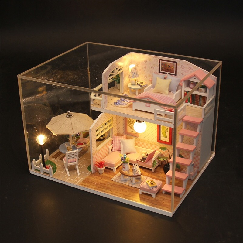 DIY Wooden Dollhouse Doll House Pink Loft Handmade Miniature Dollhouses Kit Music Box Dust Cover Toys For Girls Xmas Gifts dedo music gifts mg 308 pure handmade rotating guitar music box blue