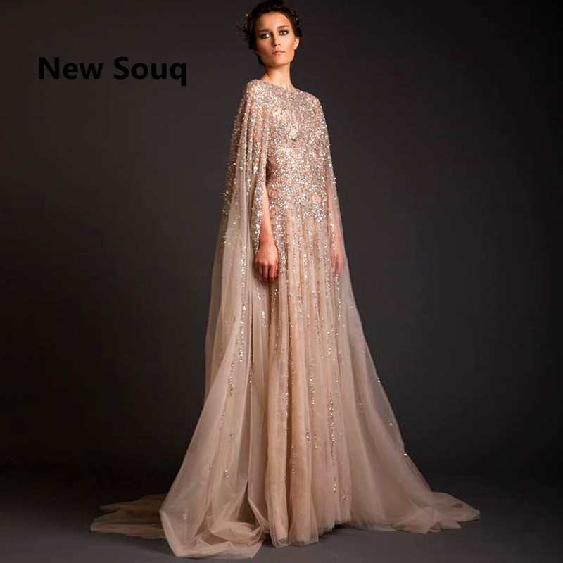 Lebanon Robe De Soiree Longue Evening Dresses Beads Saudi Arabia Long Prom Dress Abaya Dubai Kaftan Marocain Abendkleider(China)