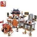 Sluban m38-b0266 la característica china tres reinos gran escena castle building blocks juguetes para niños compatibles con leping
