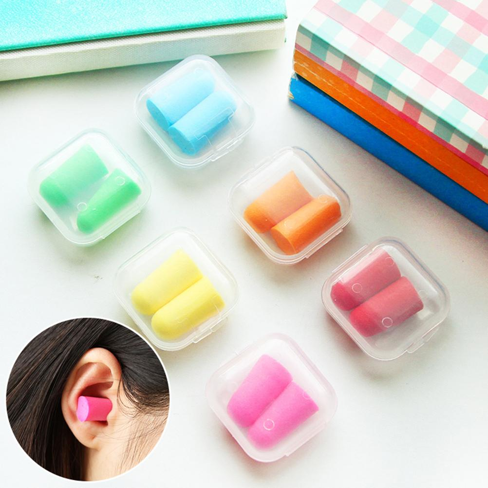 1 Pair Candy Color Ear Plugs Protector Working Earplug Foam Plastic Box Packaging Anti Noise Sleep Study Helper Random Color