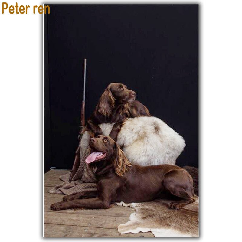 Peter ren Diamond Embroidery animals Diy painting Dog 3d Square Mosaic icons Full Cross Stitch Two dogs
