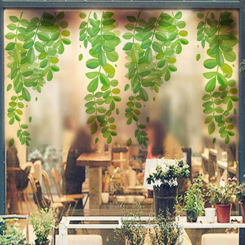 Tree leaves of vine wall sticker bathroom glass tiles for Decoration autocollant mural