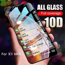 10D Full Cover Protective Glass on the For iPhone X XR XS Max Tempered On 6s 7 8 Plus Screen Protector