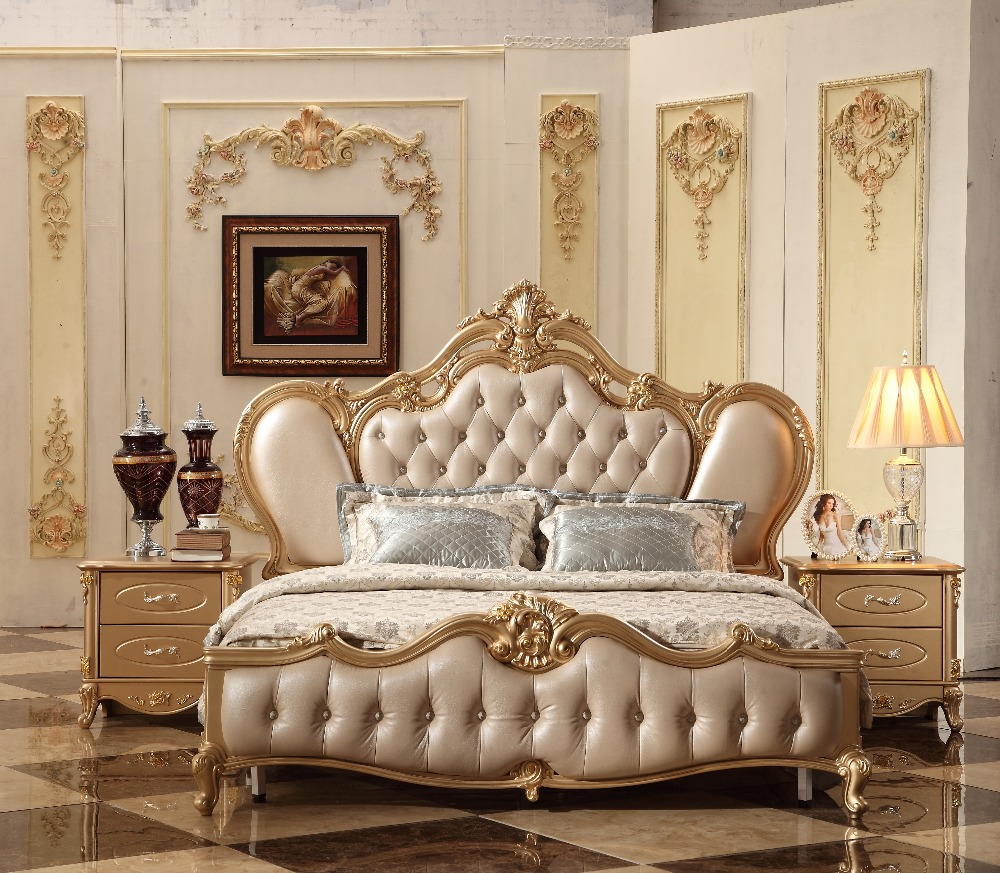 2018 New Luxury Design Golden Royal Court Carving Leather Bed, Champagne French Carving Leather Bed  King Size bed MB-A12 drawer