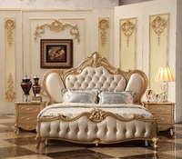 2018 New Luxury Design Golden Royal Court Carving Leather Bed, Champagne French Carving Leather Bed King Size bed MB A12