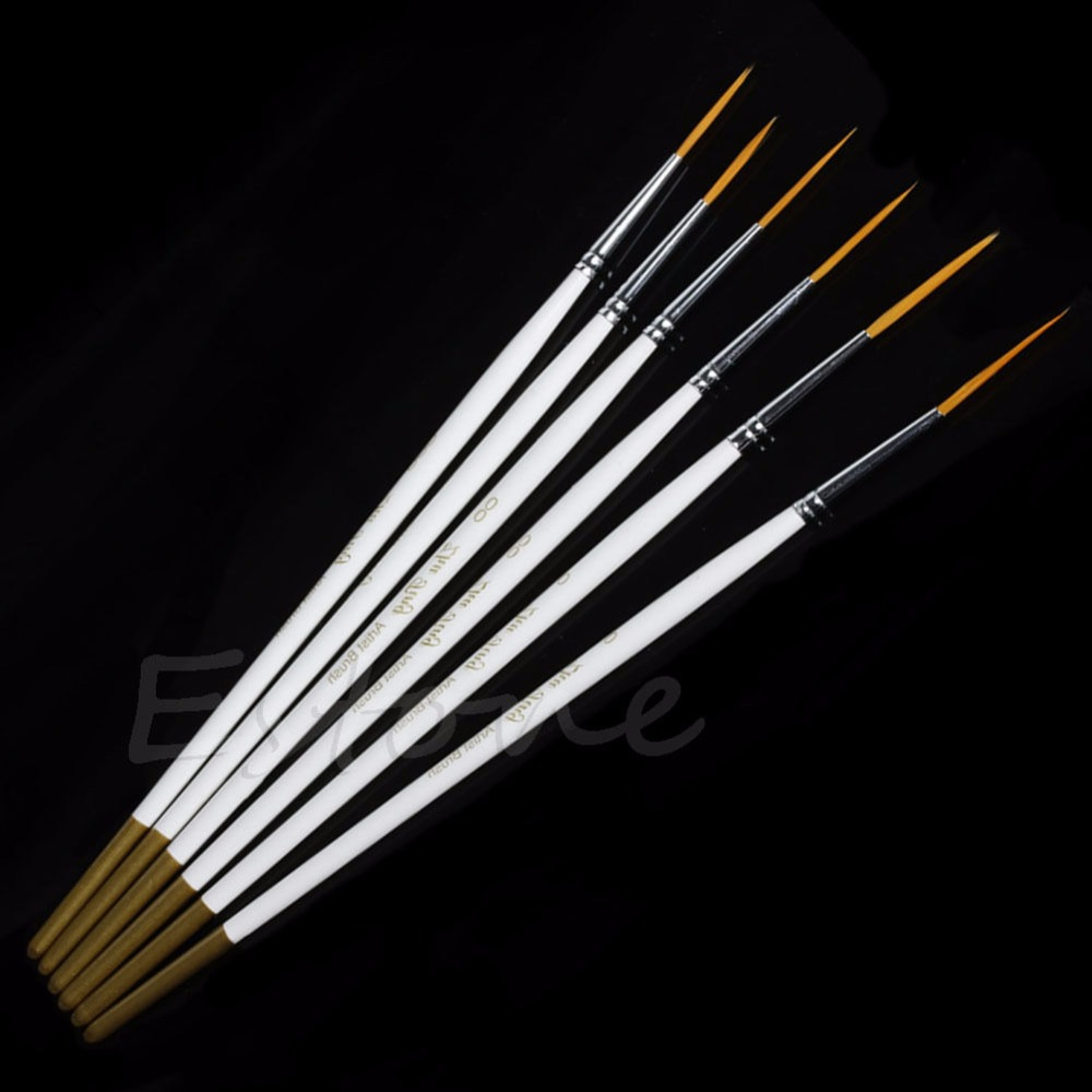 Hot 6Pcs/Set Nylon Hair Round Paint Brush Hook Line Pen Artist Draw Painting Craft