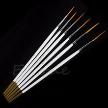 Hot 6Pcs/Set Nylon Hair Round Paint Brush Hook Line Pen Artist Draw Painting Craft