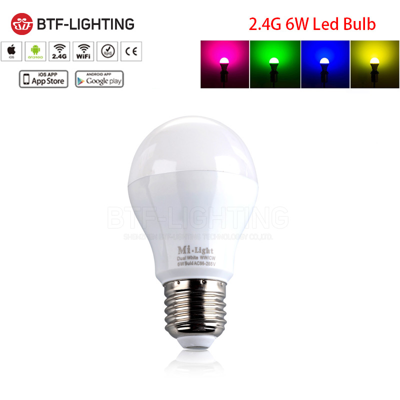 Wholesale 2.4G E27 6W RGBW RGBCW/RGBWW LED Spotlight Bulbs,Mi-light WiFi Dimmable adjustable Wireless Lamp Smart phone app rgbw e27 6w wifi led bulbs 2 4g smart phone control colors adjustable dimmable smart lamp milight free shipping