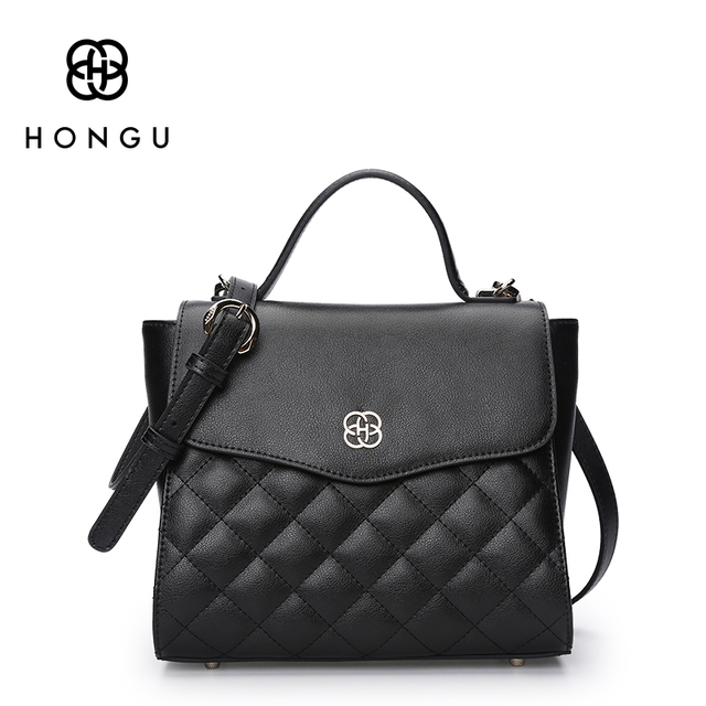 HONGU Ladies Briefcases Real Natural Cow leather Bags women Handbags Shoulder Bags Famous luxury Brands Versatile messenger Bags