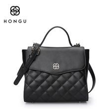 HONGU Ladies Briefcases Real Natural Cow leather Bags women Handbags Shoulder Bags Famous luxury Brands Versatile messenger Bags
