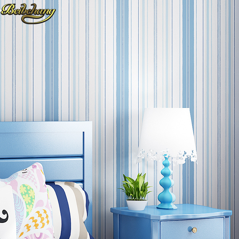 beibehang papel parede Mediterranean Blue Pink Stripe Wall Paper Non woven Wallpaper Roll Decor Mural Creative Papel de Parede