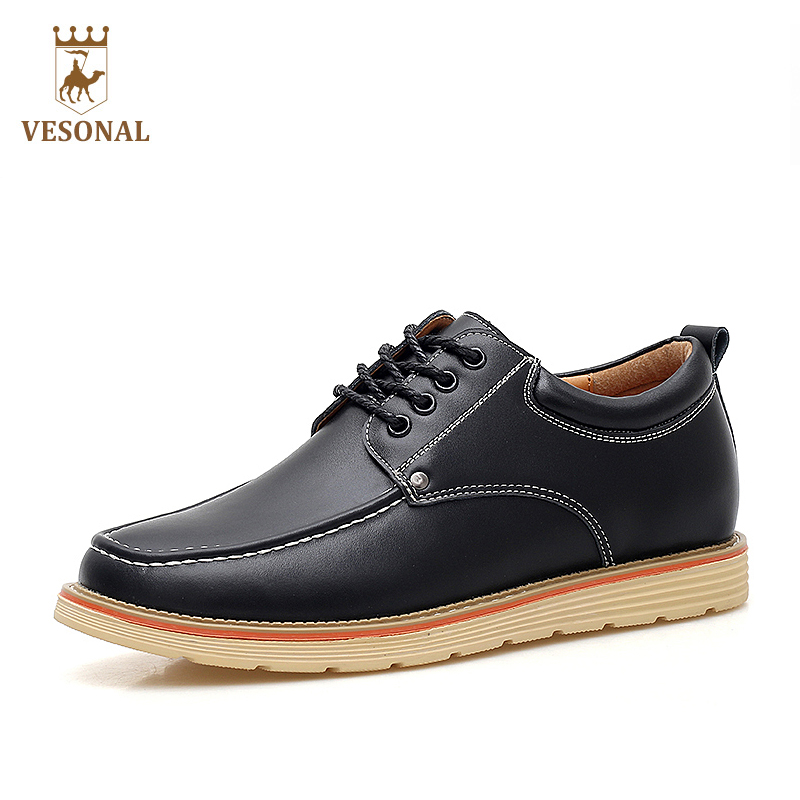 VESONAL Hot Sale 2017 Brand Business Casual Male Shoes Adult For Men Quality Genuine Leather Spring Autumn Walking Footwear Man vesonal winter fur male shoes for men loafers adult business casual brand high quality genuine leather footwear man walking