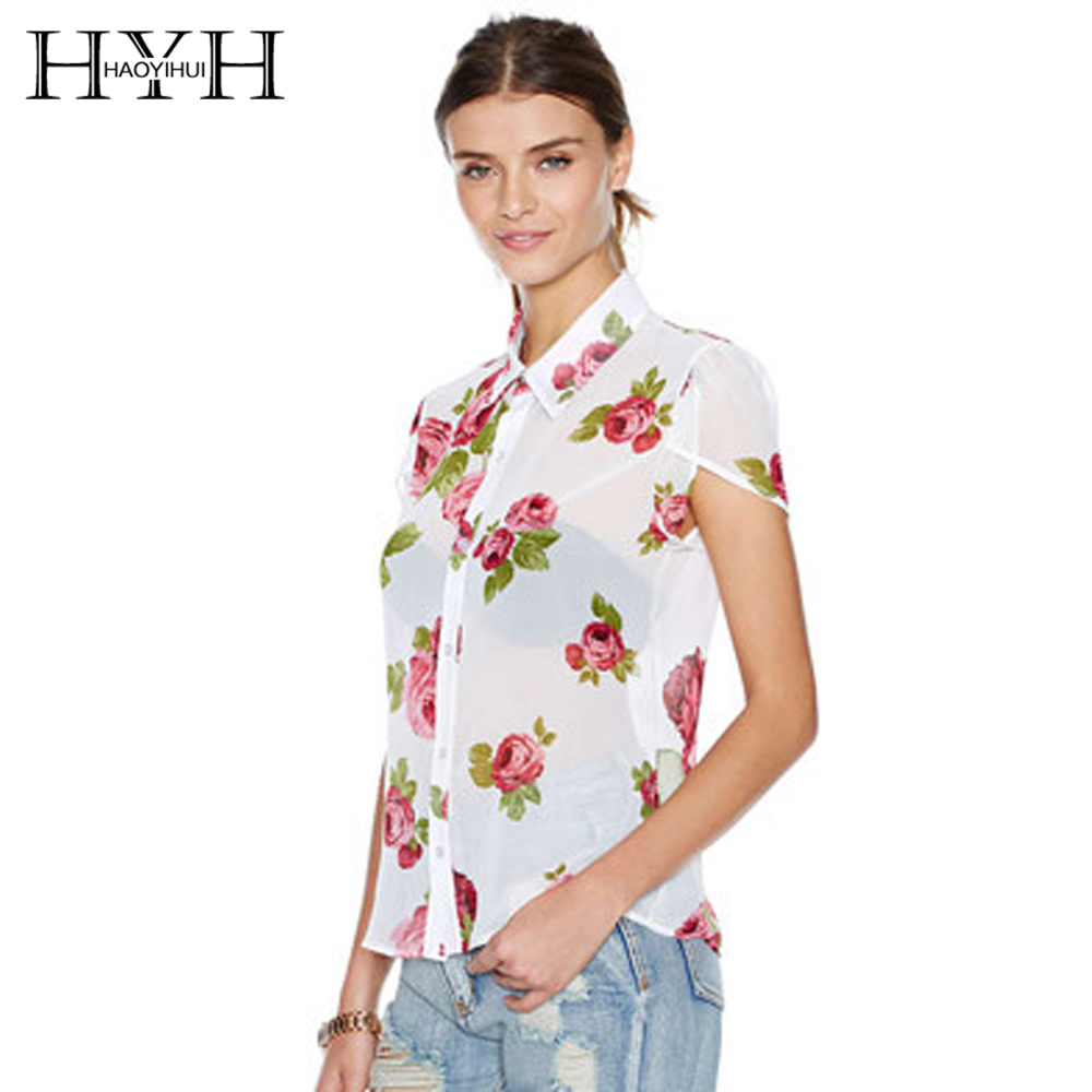 Hyh haoyihui white floral print women blouse turn down for White floral shirt womens