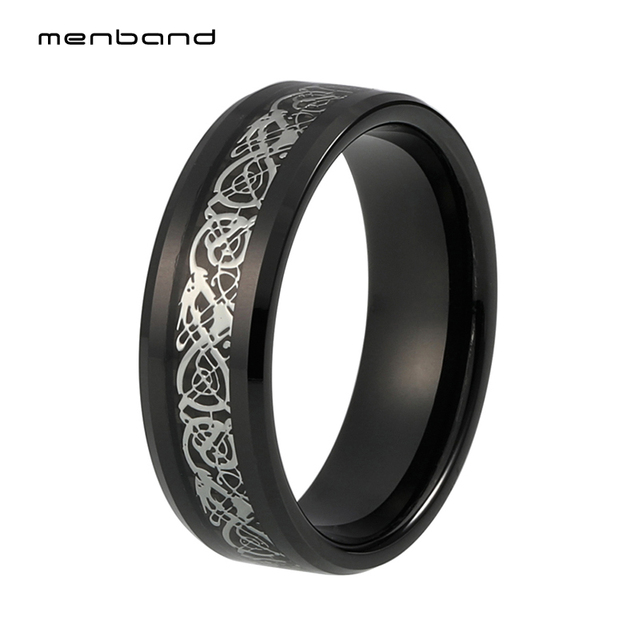 Mens Black Tungsten Wedding Bands.Us 15 28 Mens Black Tungsten Rings 8mm Dragon Wedding Ring With Black Carbon Fiber And Siver Dragon Inlay In Wedding Bands From Jewelry