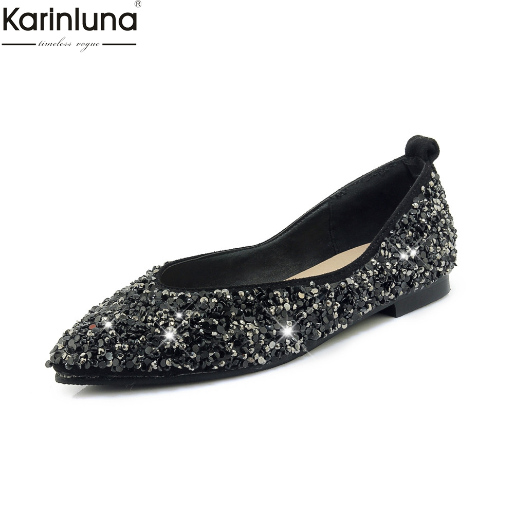 Karinluna bling crystals Plus Size 46 Chic Style 2019 Brand New Elegant Office Lady Comfortable women's Flats