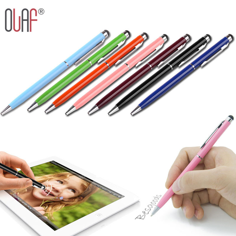 High Quality Mini Metal Capacitive Touch Pen Stylus Screen For Phone Tablet Laptop Built-in Ballpoint Pen 2 in 1