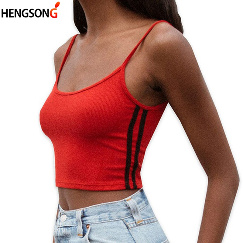 Sexy Women strip Strap Tank Tops Cropped Crop Top 2018 Summer Solid color Feminino Ladies Elastic Shirt Vest Camisole